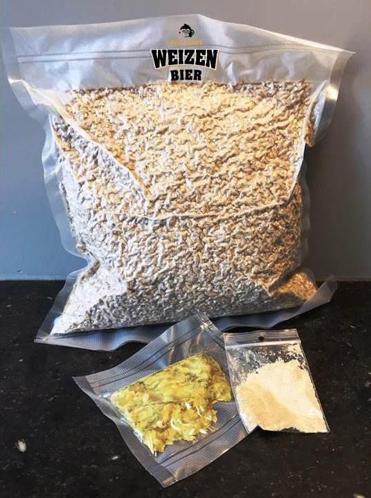 Een ingredientenpakket om zelf Weizen Bier te brouwen
